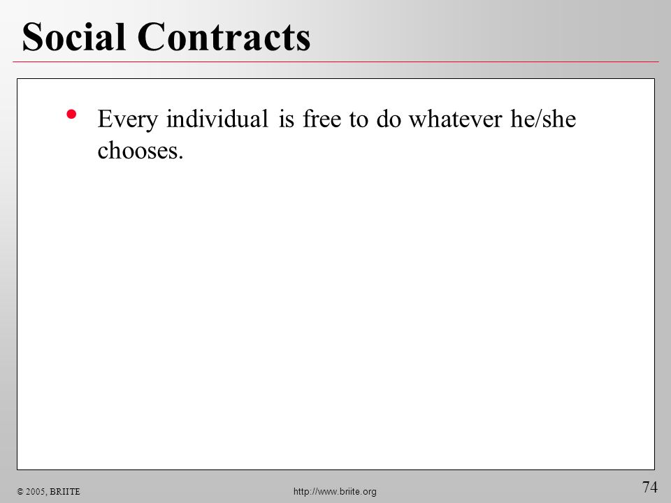 74 © 2005, BRIITE http://www.briite.org Social Contracts Every individual is free to do whatever he/she chooses.