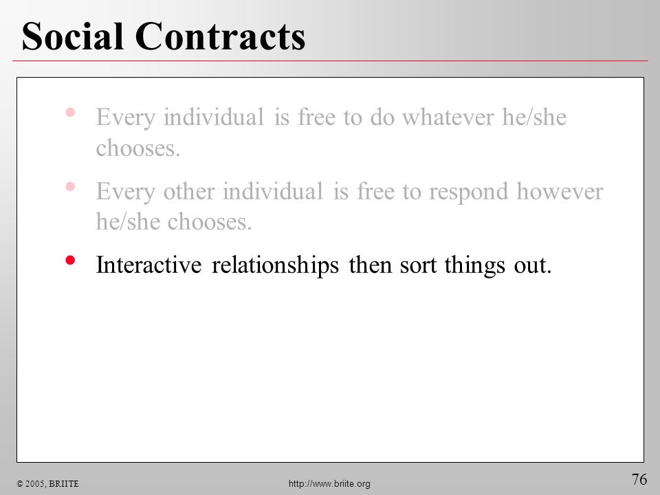 76 © 2005, BRIITE http://www.briite.org Social Contracts Every individual is free to do whatever he/she chooses.