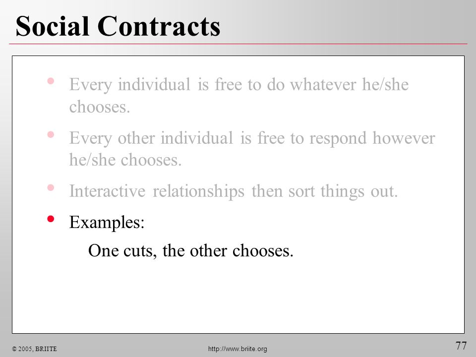77 © 2005, BRIITE http://www.briite.org Social Contracts Every individual is free to do whatever he/she chooses.