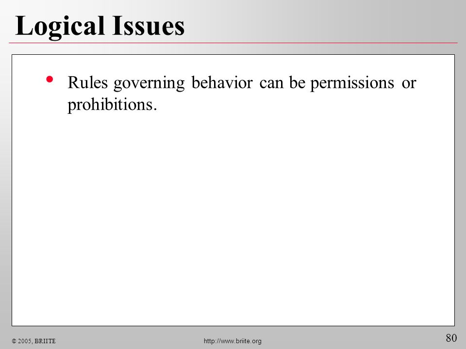 80 © 2005, BRIITE http://www.briite.org Logical Issues Rules governing behavior can be permissions or prohibitions.