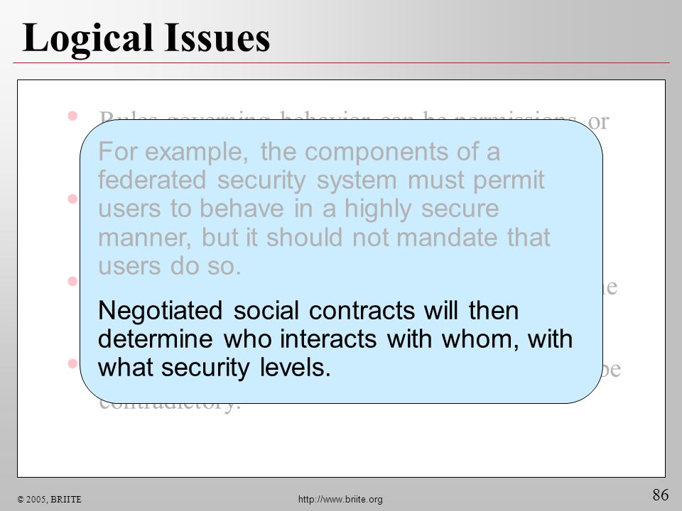 86 © 2005, BRIITE http://www.briite.org Logical Issues Rules governing behavior can be permissions or prohibitions. The union set of contradictory per