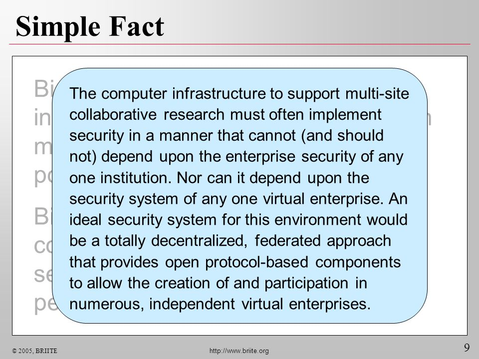 9 © 2005, BRIITE http://www.briite.org Simple Fact Biomedical research routinely spans institutional boundaries. Collaboration must be supported acros