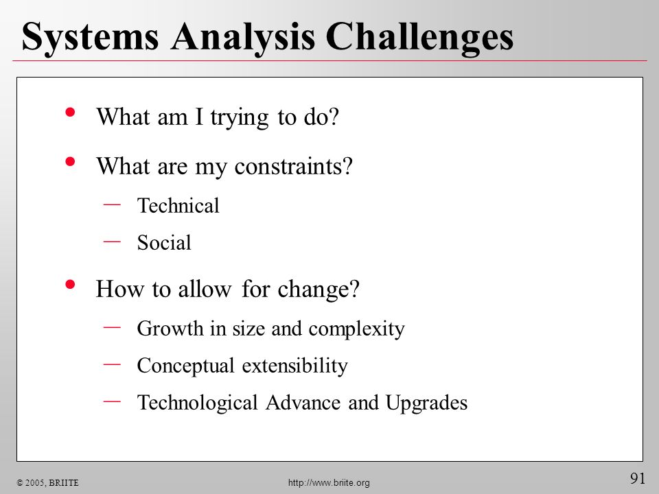 91 © 2005, BRIITE http://www.briite.org Systems Analysis Challenges What am I trying to do.