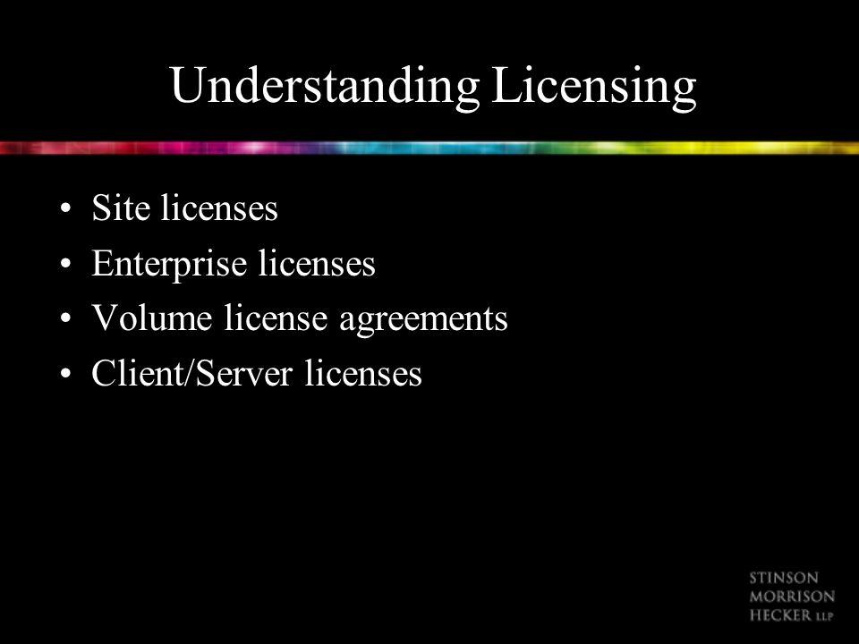 Understanding Licensing Site licenses Enterprise licenses Volume license agreements Client/Server licenses