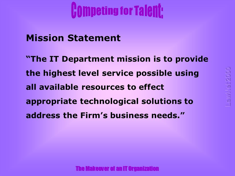 The IT Department mission is to provide the highest level service possible using all available resources to effect appropriate technological solutions to address the Firms business needs.