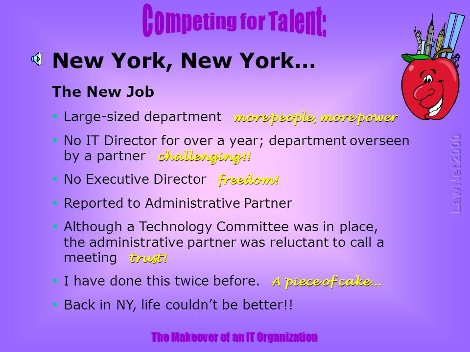 The Makeover of an IT Organization New York, New York… The New Job more people, more power Large-sized department more people, more power challenging!.
