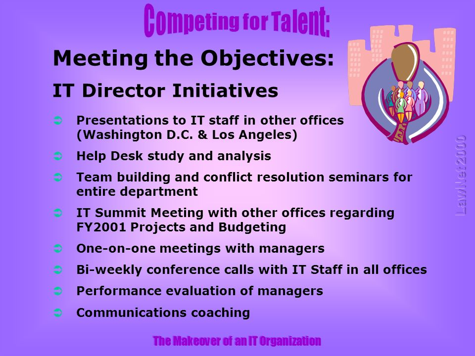 The Makeover of an IT Organization Presentations to IT staff in other offices (Washington D.C.