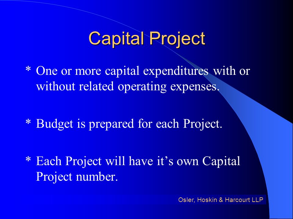 Capital Project *One or more capital expenditures with or without related operating expenses.