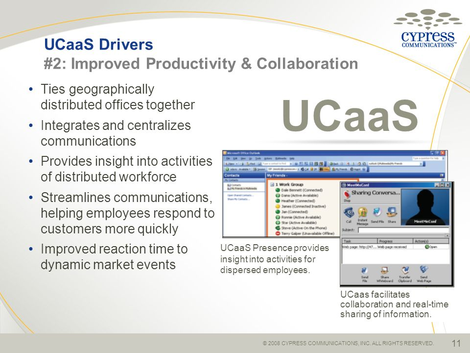 © 2008 CYPRESS COMMUNICATIONS, INC. ALL RIGHTS RESERVED. 11 UCaaS Drivers #2: Improved Productivity & Collaboration Ties geographically distributed of