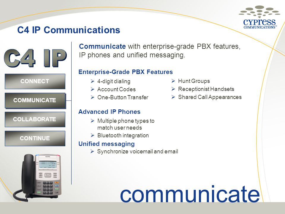 C4 IP Communications CONNECT COMMUNICATE COLLABORATE CONTINUE Enterprise-Grade PBX Features 4-digit dialing Account Codes One-Button Transfer Hunt Gro