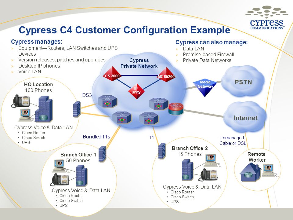 Media Gateway Cypress manages: EquipmentRouters, LAN Switches and UPS Devices Version releases, patches and upgrades Desktop IP phones Voice LAN Cypre