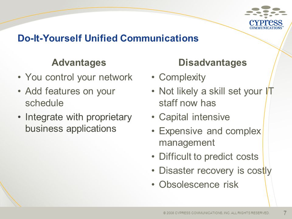 Do-It-Yourself Unified Communications Advantages You control your network Add features on your schedule Integrate with proprietary business applicatio