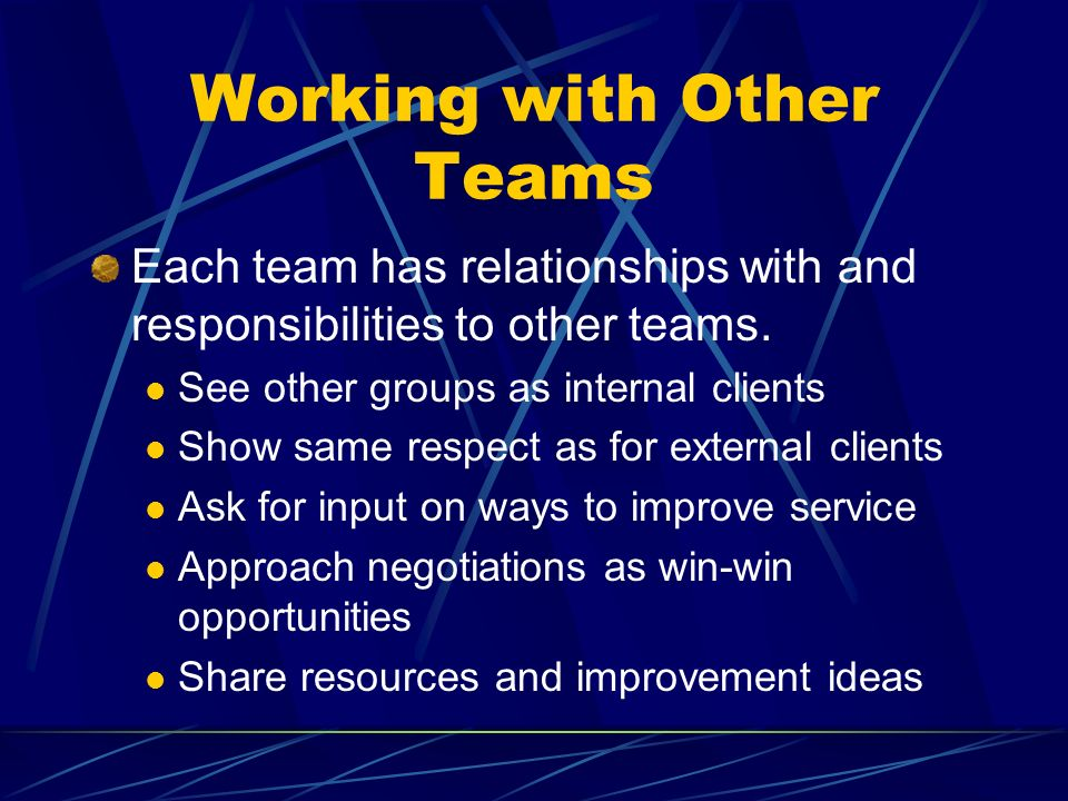 Working with Other Teams Each team has relationships with and responsibilities to other teams.
