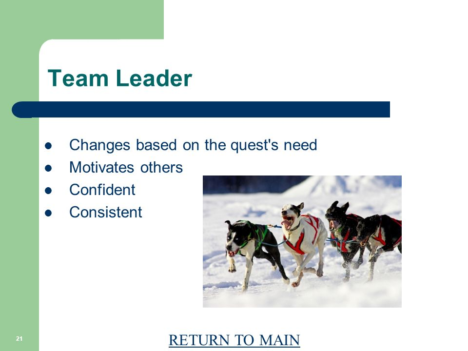 RETURN TO MAIN 21 Team Leader Changes based on the quest s need Motivates others Confident Consistent