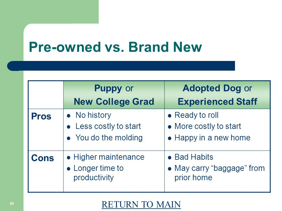 RETURN TO MAIN 29 Pre-owned vs. Brand New Puppy or New College Grad Adopted Dog or Experienced Staff Pros No history Less costly to start You do the m