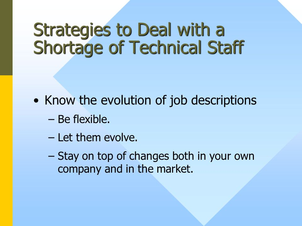 Strategies to Deal with a Shortage of Technical Staff Know the evolution of job descriptions –Be flexible.