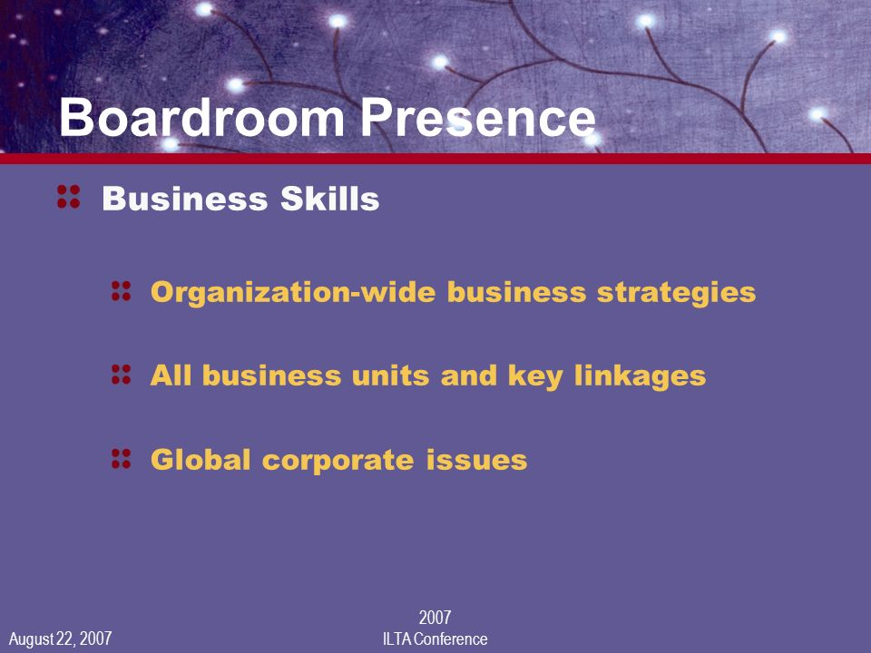 August 22, 2007 2007 ILTA Conference Boardroom Presence Business Skills Organization-wide business strategies All business units and key linkages Global corporate issues
