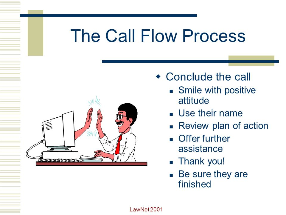 LawNet 2001 The Call Flow Process Get agreement Why dont we try this remedy.