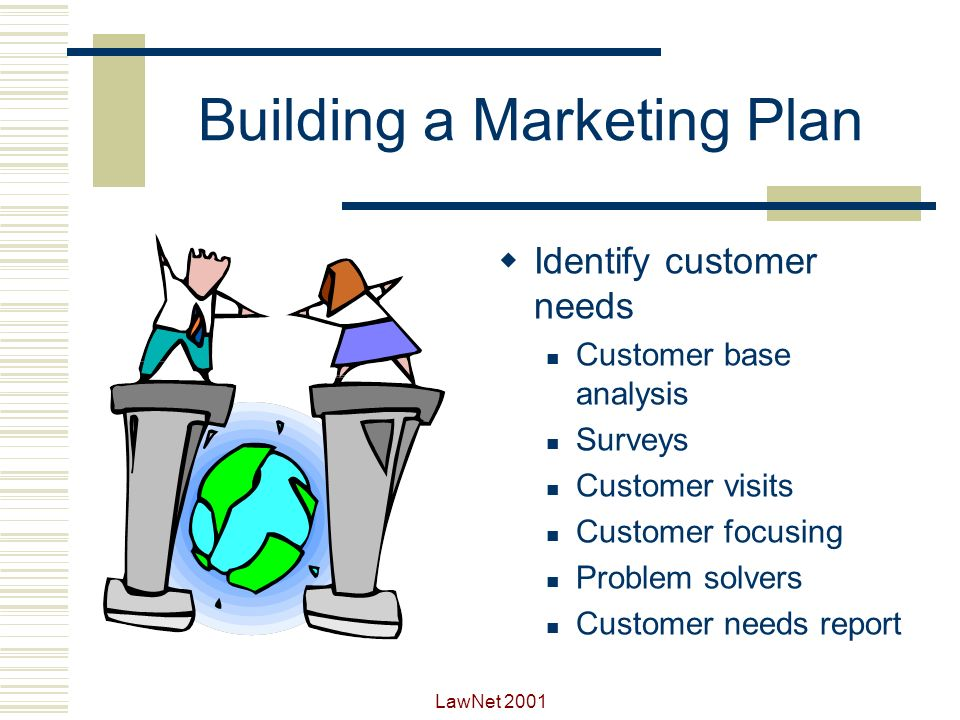 LawNet 2001 Building a Marketing Plan Create realistic objectives Customer oriented