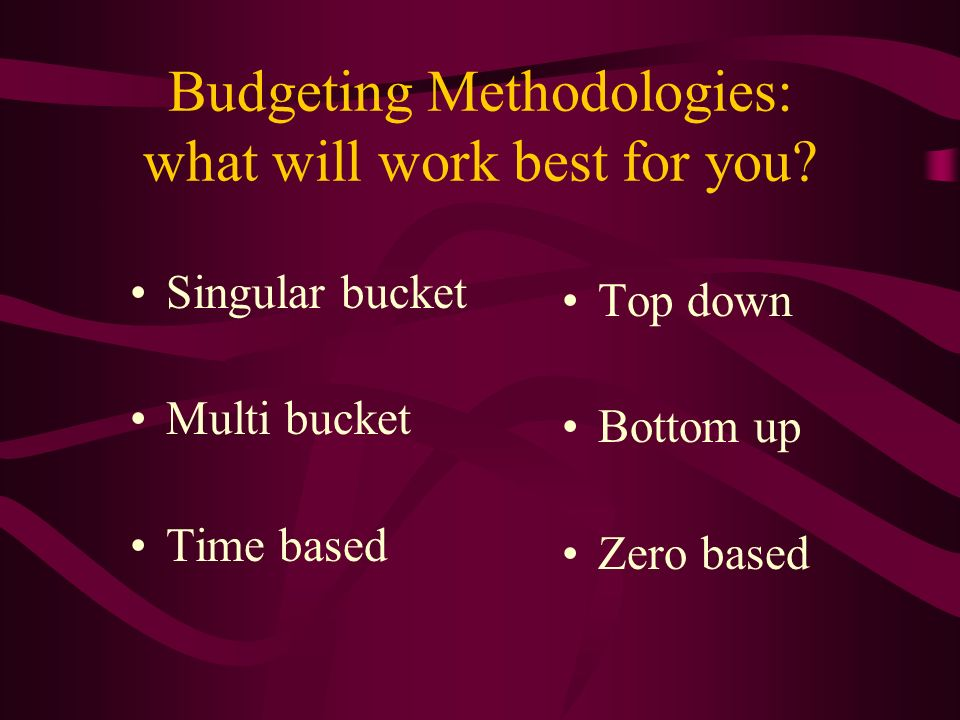Budgeting Methodologies: what will work best for you.