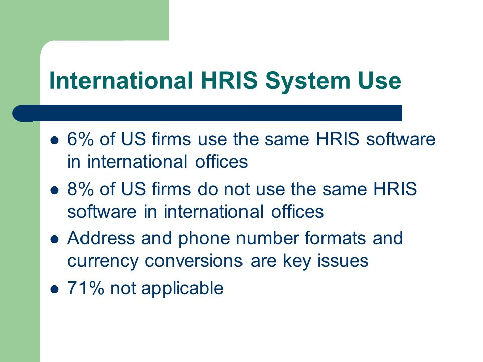 International HRIS System Use 6% of US firms use the same HRIS software in international offices 8% of US firms do not use the same HRIS software in international offices Address and phone number formats and currency conversions are key issues 71% not applicable