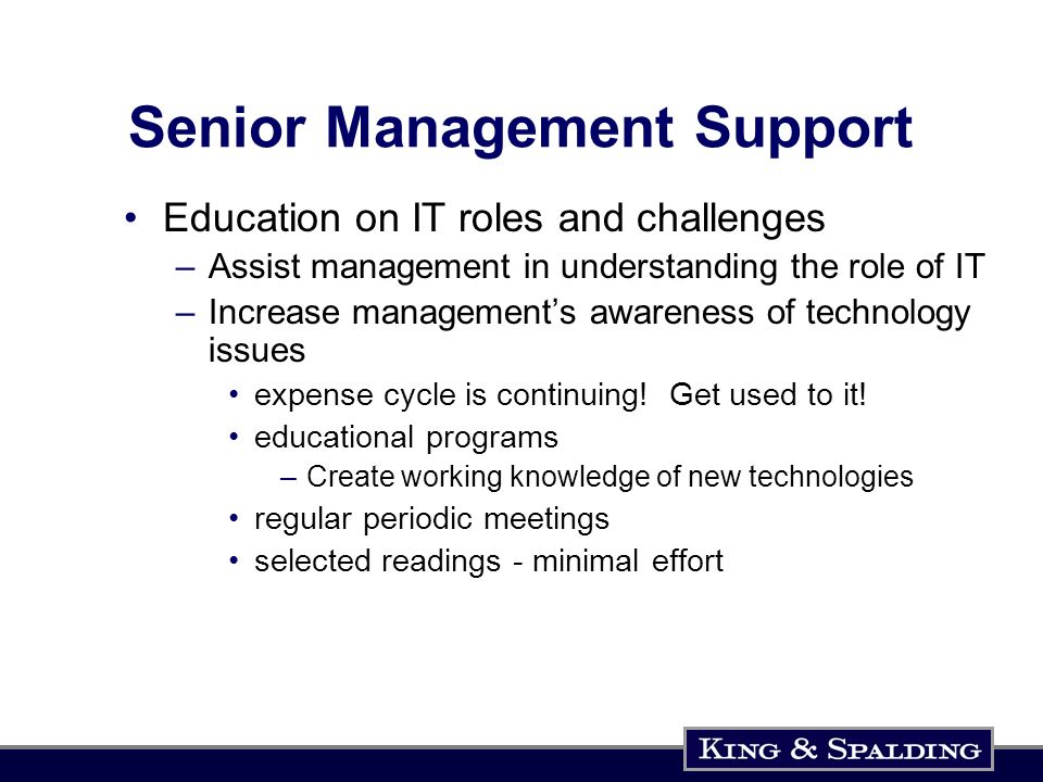 Senior Management Support Education on IT roles and challenges –Assist management in understanding the role of IT –Increase managements awareness of t