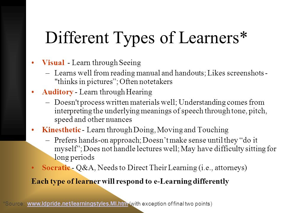 *Source: www.ldpride.net/learningstyles.MI.htm (with exception of final two points)www.ldpride.net/learningstyles.MI.htm Different Types of Learners*