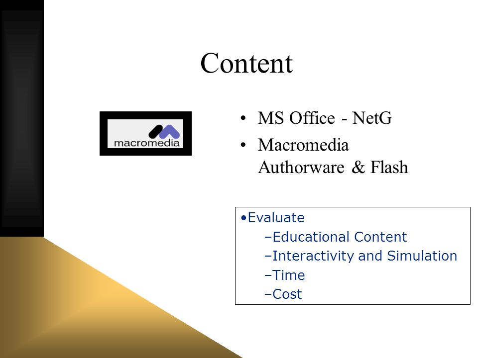 Content MS Office - NetG Macromedia Authorware & Flash Evaluate –Educational Content –Interactivity and Simulation –Time –Cost