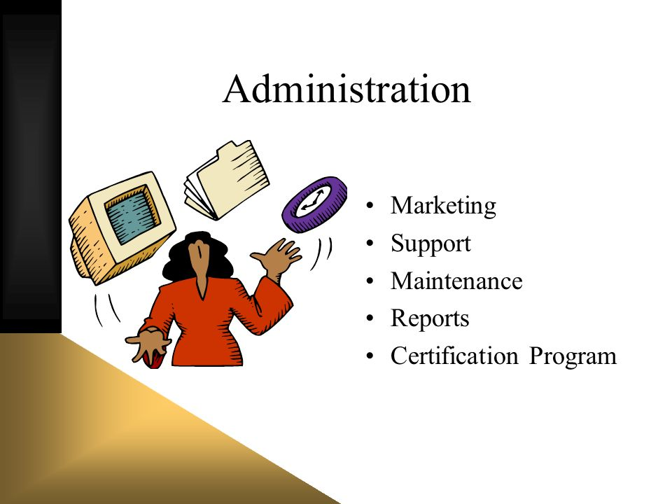 Administration Marketing Support Maintenance Reports Certification Program