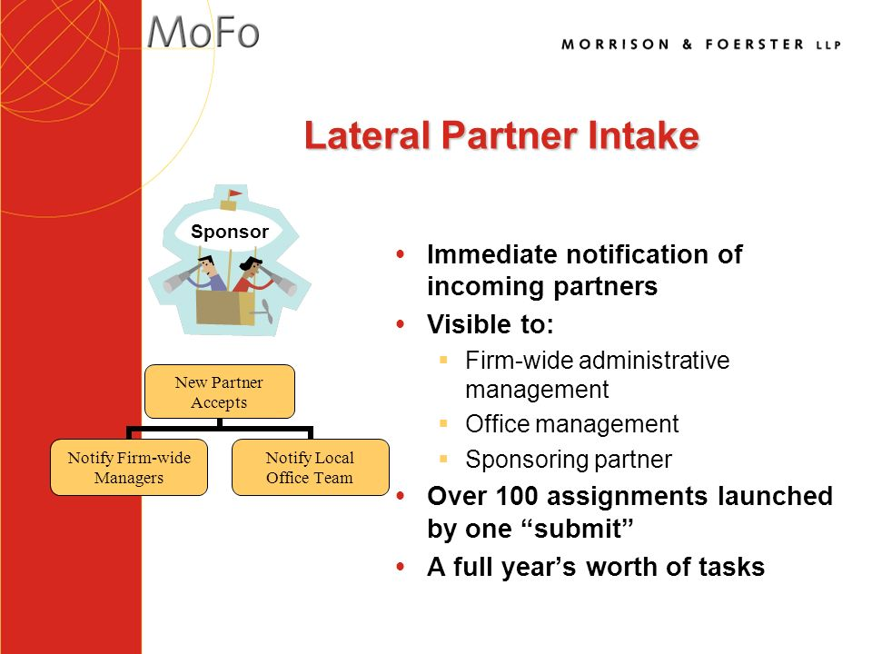 Lateral Partner Intake ŸImmediate notification of incoming partners ŸVisible to: §Firm-wide administrative management §Office management §Sponsoring partner ŸOver 100 assignments launched by one submit ŸA full years worth of tasks New Partner Accepts Notify Firm-wide Managers Notify Local Office Team Sponsor