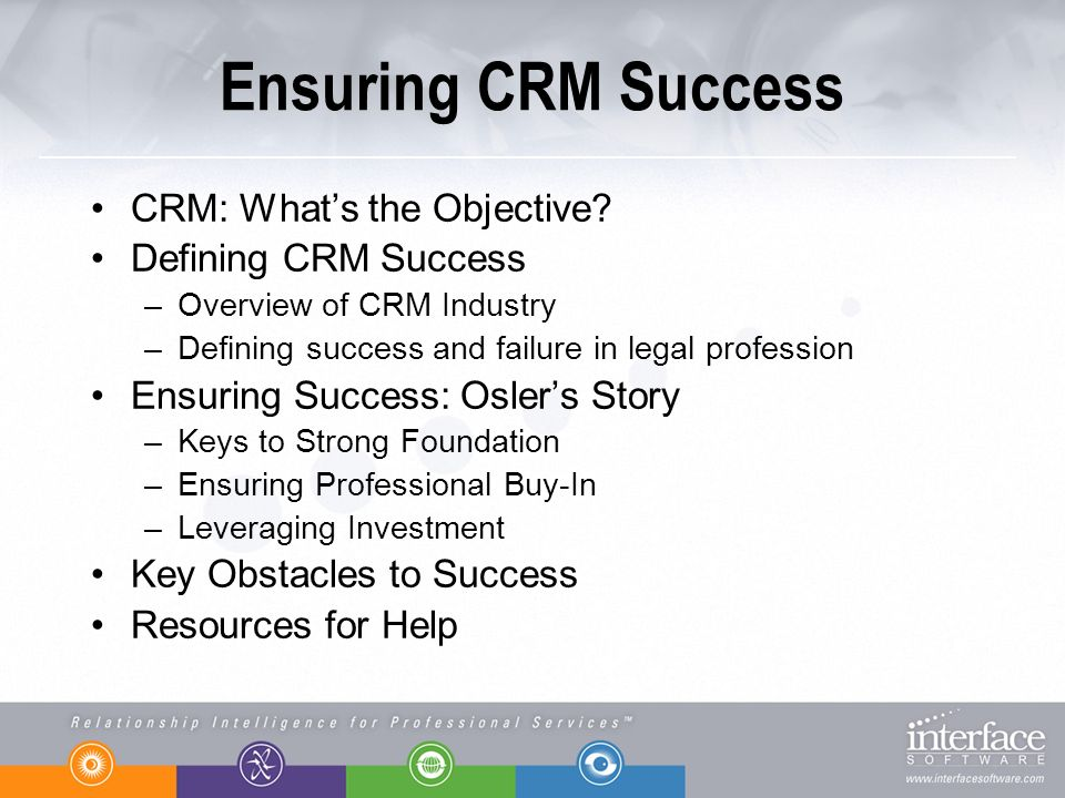 Ensuring CRM Success CRM: Whats the Objective? Defining CRM Success –Overview of CRM Industry –Defining success and failure in legal profession Ensuri