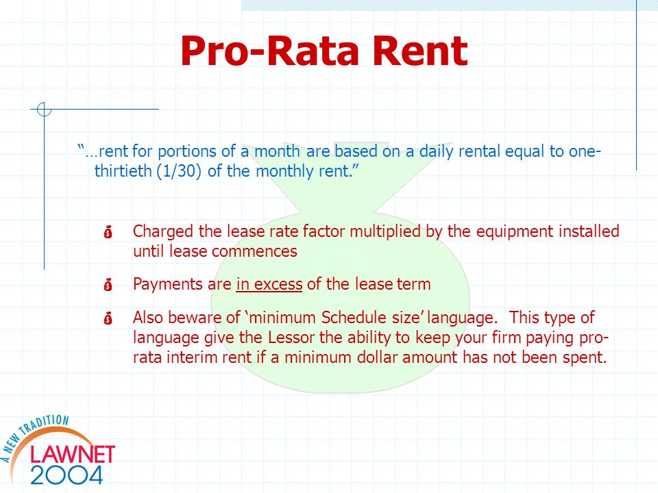 Pro-Rata Rent …rent for portions of a month are based on a daily rental equal to one- thirtieth (1/30) of the monthly rent.