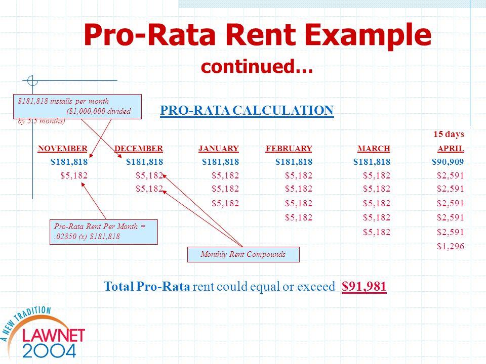 Pro-Rata Rent Example continued… PRO-RATA CALCULATION 15 days NOVEMBERDECEMBERJANUARYFEBRUARYMARCHAPRIL $181,818 $90,909 $5,182 $2,591 $5,182 $2,591 $