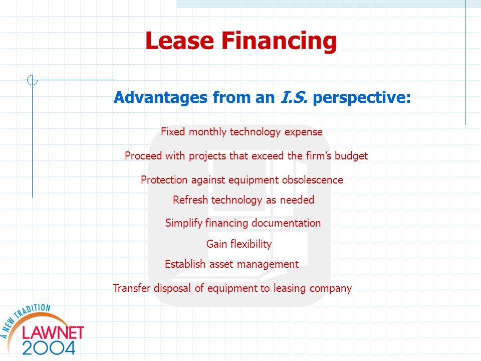 Simplify financing documentation Advantages from an I.S.
