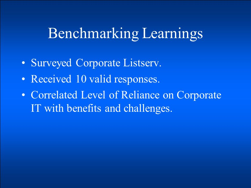 Benchmarking Learnings Surveyed Corporate Listserv. Received 10 valid responses. Correlated Level of Reliance on Corporate IT with benefits and challe