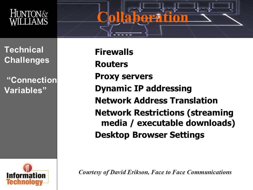 Collaboration Courtesy of David Erikson, Face to Face Communications Technical Challenges Connection Variables Firewalls Routers Proxy servers Dynamic IP addressing Network Address Translation Network Restrictions (streaming media / executable downloads) Desktop Browser Settings