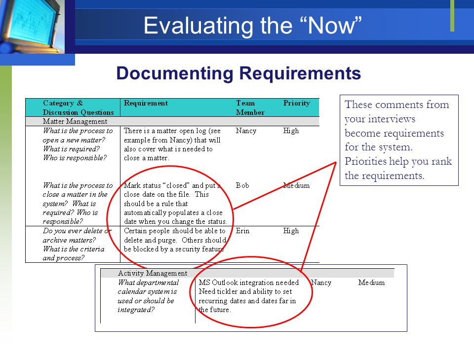 Evaluating the Now Documenting Requirements These comments from your interviews become requirements for the system. Priorities help you rank the requi