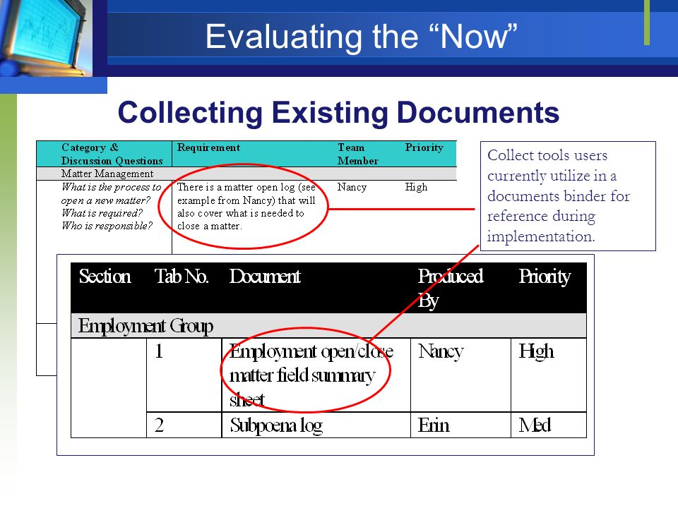 Evaluating the Now Collecting Existing Documents Collect tools users currently utilize in a documents binder for reference during implementation.