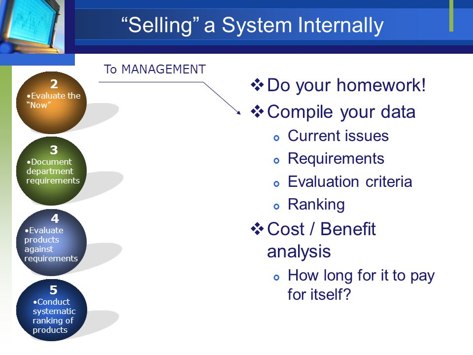 Selling a System Internally Do your homework! Compile your data Current issues Requirements Evaluation criteria Ranking Cost / Benefit analysis How lo
