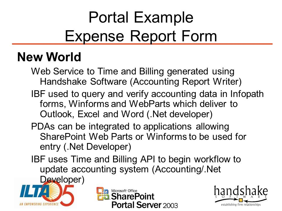 Portal Example Expense Report Form New World Web Service to Time and Billing generated using Handshake Software (Accounting Report Writer) IBF used to