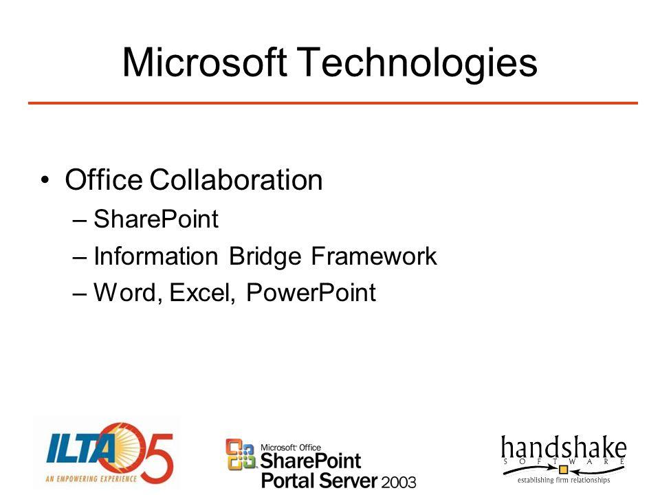 Microsoft Technologies Office Collaboration –SharePoint –Information Bridge Framework –Word, Excel, PowerPoint