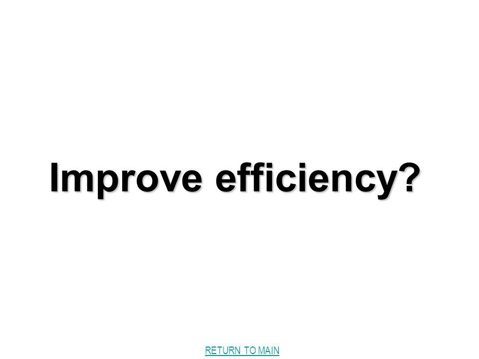 RETURN TO MAIN Improve efficiency