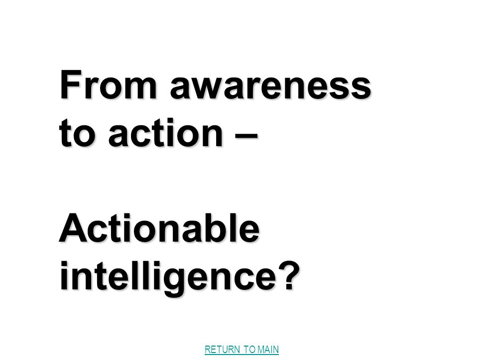 RETURN TO MAIN From awareness to action – Actionable intelligence