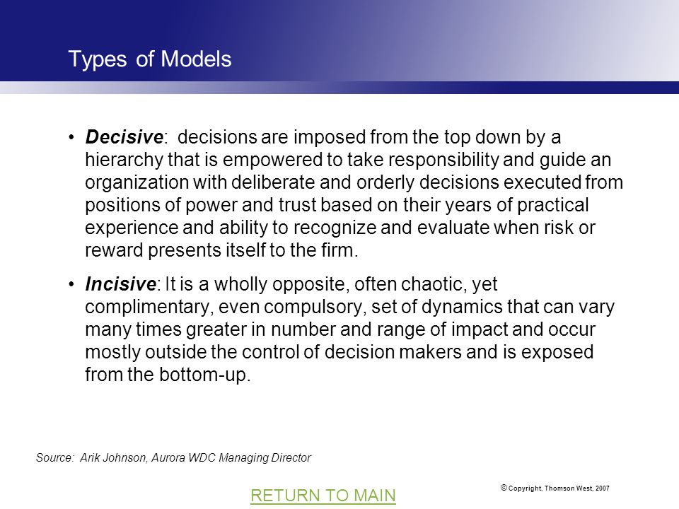 © Copyright, Thomson West, 2007 RETURN TO MAIN Types of Models Decisive: decisions are imposed from the top down by a hierarchy that is empowered to take responsibility and guide an organization with deliberate and orderly decisions executed from positions of power and trust based on their years of practical experience and ability to recognize and evaluate when risk or reward presents itself to the firm.