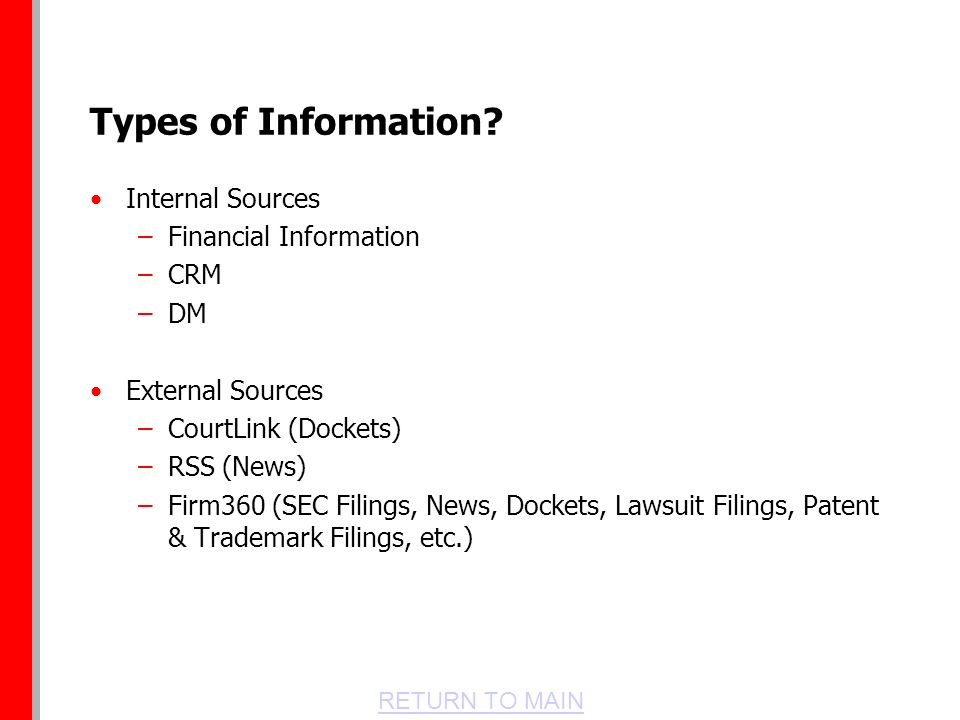 RETURN TO MAIN Types of Information.