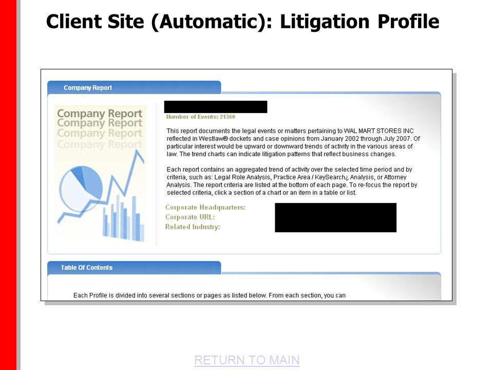 RETURN TO MAIN Client Site (Automatic): Litigation Profile