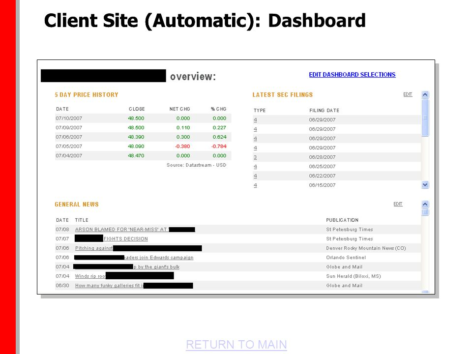 RETURN TO MAIN Client Site (Automatic)Client Site (Automatic): Dashboard