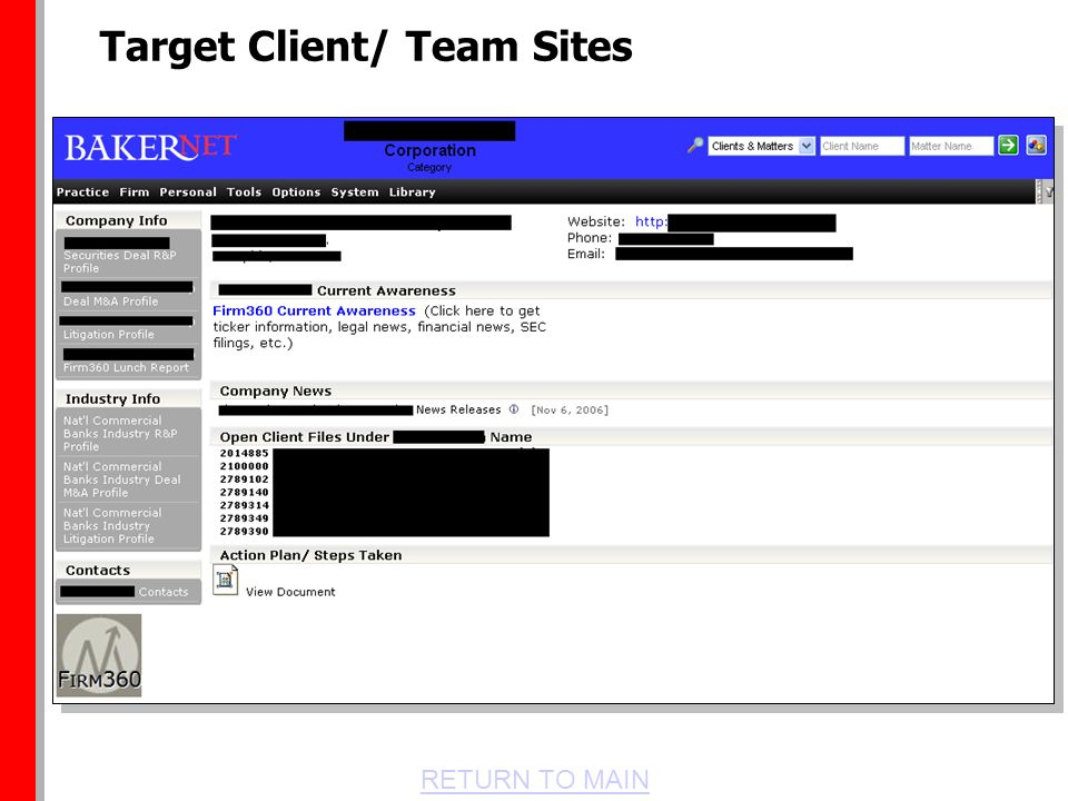 RETURN TO MAIN Target Client/ Team Sites