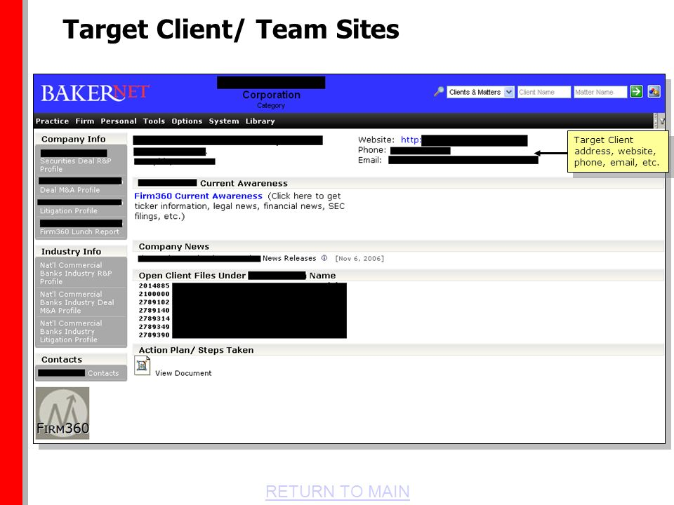 RETURN TO MAIN Target Client/ Team Sites Target Client address, website, phone, email, etc.