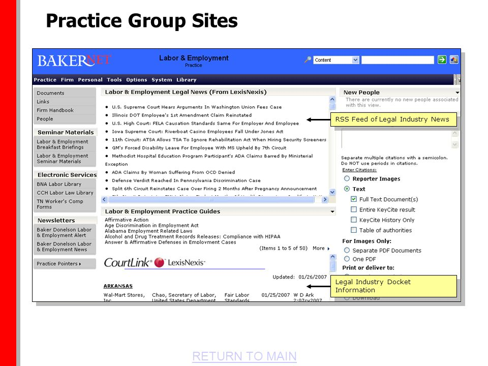 RETURN TO MAIN RSS Feed of Legal Industry News Legal Industry Docket Information Practice Group Sites